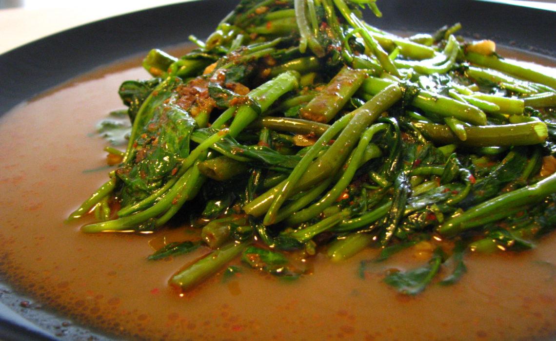 Stir-fried belachan kangkong